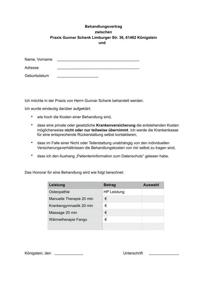 behandlungsvertrag - Behandlungsvertrag Muster